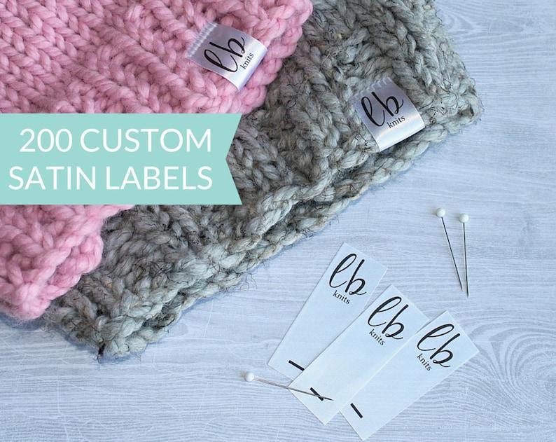 Qty 200  Custom hem label  Fold over satin tag  Custom logo image 0