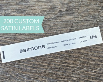 Qty 200 - Custom Satin sew-in label - Logo / Name and Content Label - Custom clothing label - Bilingual care and content label -