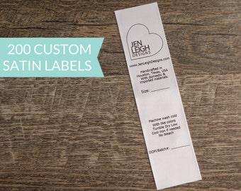 Qty 200 - White satin USA tracking label - custom tracking label - CPSIA compliant tracking label - Clothing labels