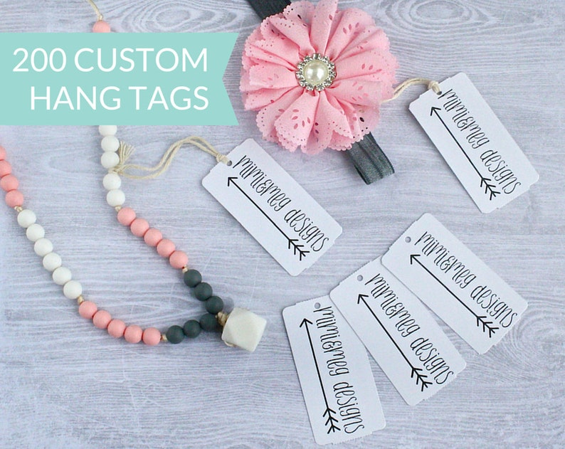 Qty 200  Custom Hang Tags  Personalized Hang Tags  Custom image 0