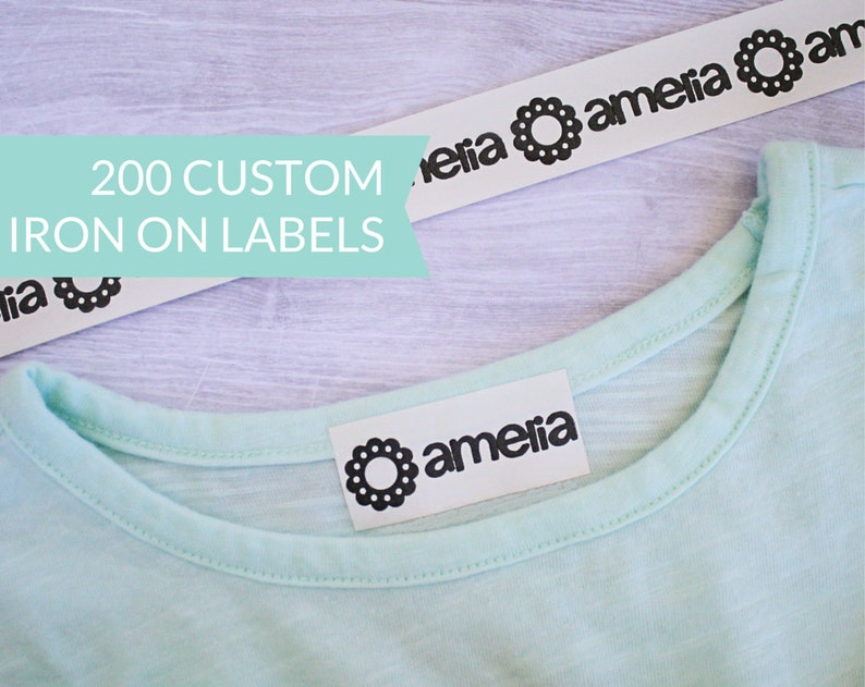 Qty 200  Custom Iron-On Clothing Label Personalized Name image 0