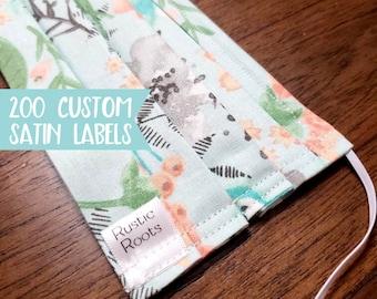 Qty 200 - SMALL custom brand label - Fold over satin label - Mask Label - Scrub Cap Label - Gown Label - Headband Label