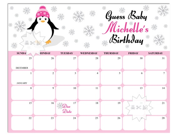 graphic relating to Penguins Printable Schedule identify Penguin Boy or girl Shower Calendar-Crimson Black Child Woman Shower