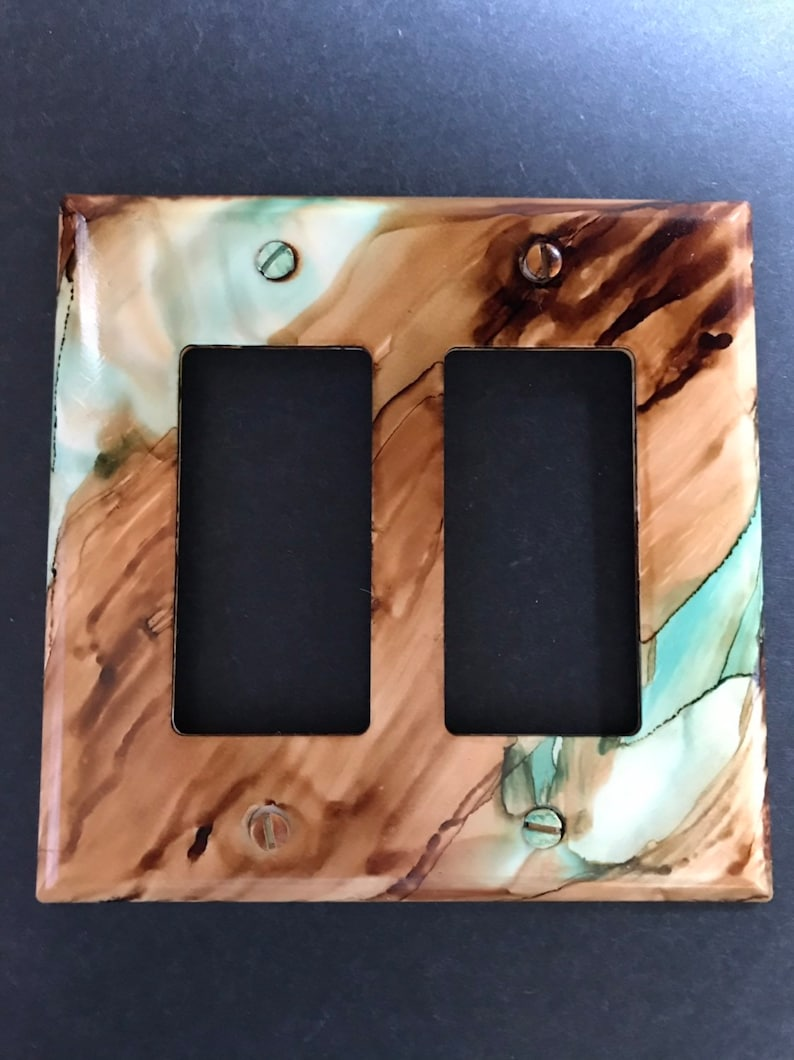 Southwest Desert Sandstone & 2 Wide Light Turquoise Veins Switch Plate -  Hand Painted -