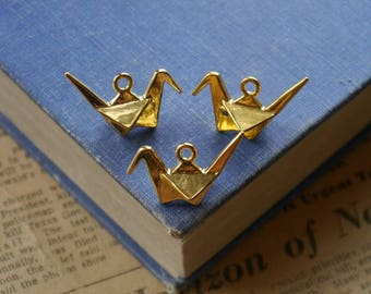 6pcs Gold Origami Crane Charms 3D 27mm (GC2879)