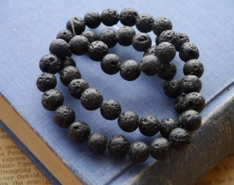 50pcs 8mm Black Lava Beads Great for Diffuser Essential Oil Lockets  (BD2788)