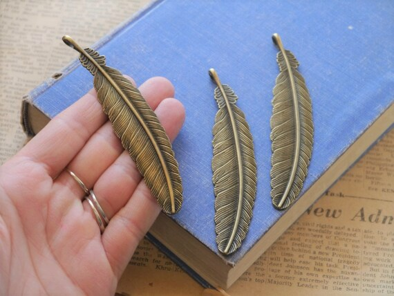 15x Antique Silver Leaf Feather Charms Pendants Jewelry Findings Card Making