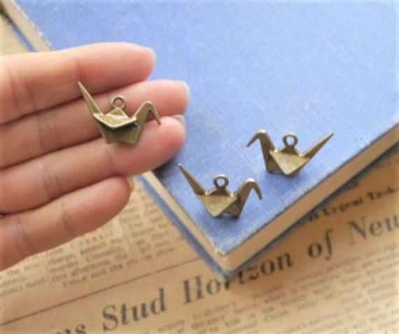 6pcs Gold Origami Crane Charms 3D 27mm GC2879