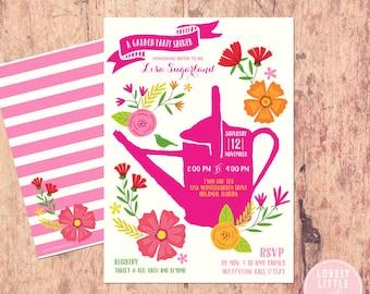 Garden Party themed Bridal Shower Invitation, floral bridal shower, bright flowers garden invite, Wedding Shower - Lovely Little Party