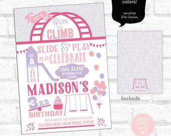 Playground Birthday Invitation, Park Birthday Invitation, Picnic Birthday, Run Climb Slide and Play Invitation