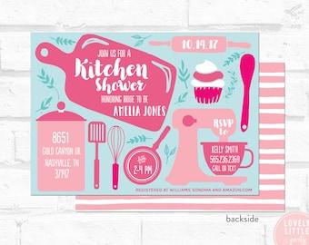 kitchen shower invitation, kitchen bridal shower Invitation, bridal shower - Lovely Little Party