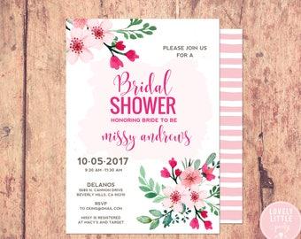bridal shower invitation, floral bridal shower Invitation, bridal shower - Lovely Little Party