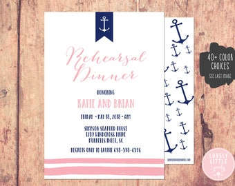 nautical rehearsal dinner invitation etsy