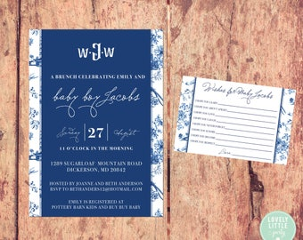 Chinoiserie Themed Baby Shower Collection - Invitation & Wish Cards - Lovely Little Party