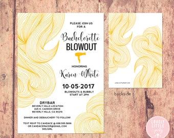 Bachelorette Blowout invitation, Bachelorette Party Invitation, Blow Out Party, Salon Opening, Salon Grand Opening- Lovely Little Party