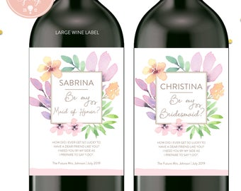 Watercolor Floral Will you be my bridesmaid wine labels, bridesmaid wine labels, watercolor labels, bridesmaid gift - style 1006