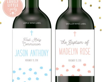 Dot First Communion wine labels, Baptism wine labels, Dedication wine labels - style 127
