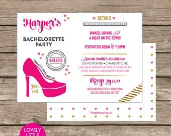 Modern Simply Stilleto Bachelorette Party Invite DIY Printable -  Lovely Little Party