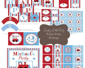 Personalized Printable Train Birthday Package - LOVELY LITTLE PARTY