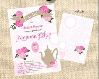 DIY Printable Vintage Floral Tea Bridal Shower Invitation  - Lovely Little Party