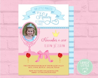 Princess Invitation, Printable or Printed Popular Princess Theme Invitation,multi princess birthday theme - Lovely Little Party