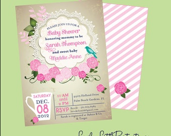 Printable or Printed Vintage Lace Tea Party Baby Shower Invite - Lovely Little Party