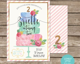 Classy Watercolor Cake Themed & Floral Child or Adult Birthday Invitation - Lovely Little Party