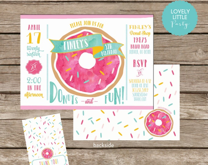 Featured listing image: DIY Donut Birthday Invitation Kit - Invite AND Thank You Card included
