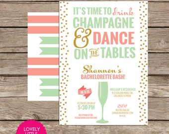 Drink Champagne & Dance on Tables Bachelorette Party Invite DIY Printable -  Lovely Little Party