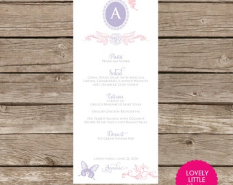 DIY Printable Baptism, Communion, Christening, Birthday Menu Card - butterflies and roses