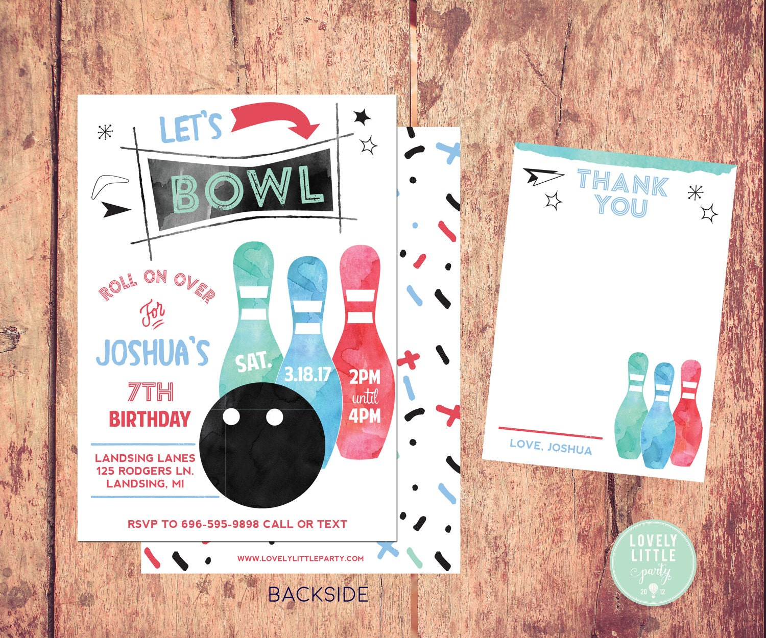 Bowling Party Invitation Boy Watercolor Kit
