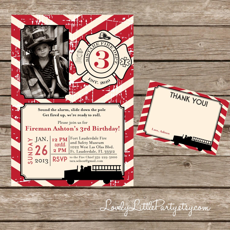 DIY Printable Vintage Fireman Birthday Invitation Kit Invite | Etsy