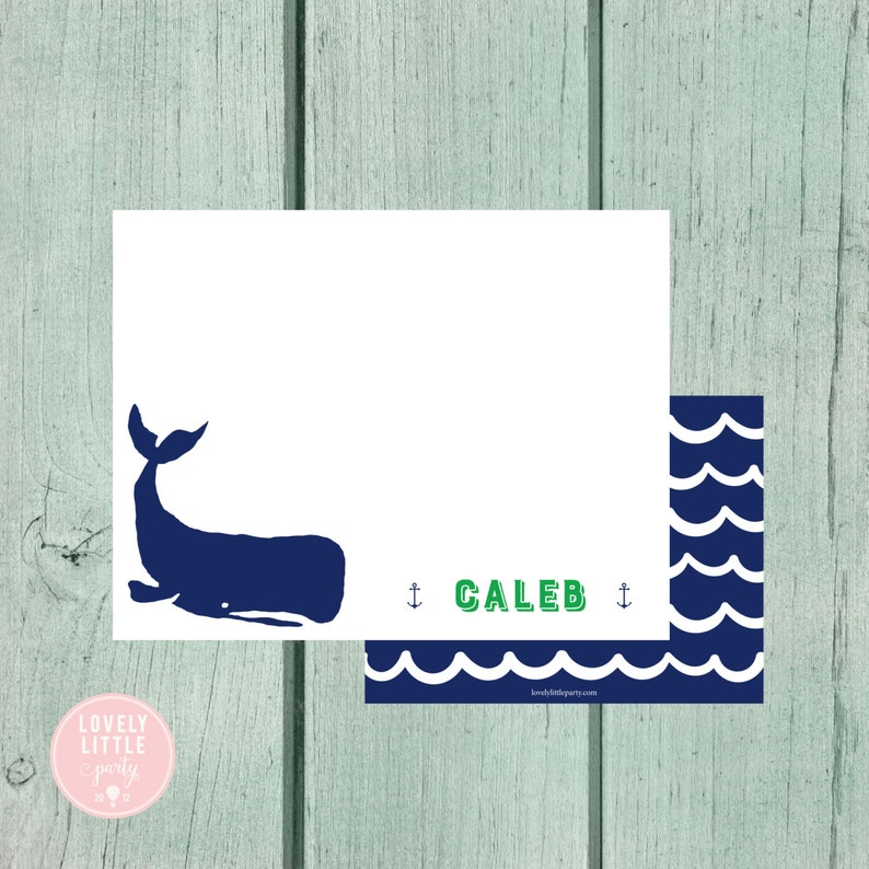 Kids notecards Whale Stationery Kids Stationery Boys Gift Nautical Personalized Notecards Lovely Little Party Boy Birthday Gift