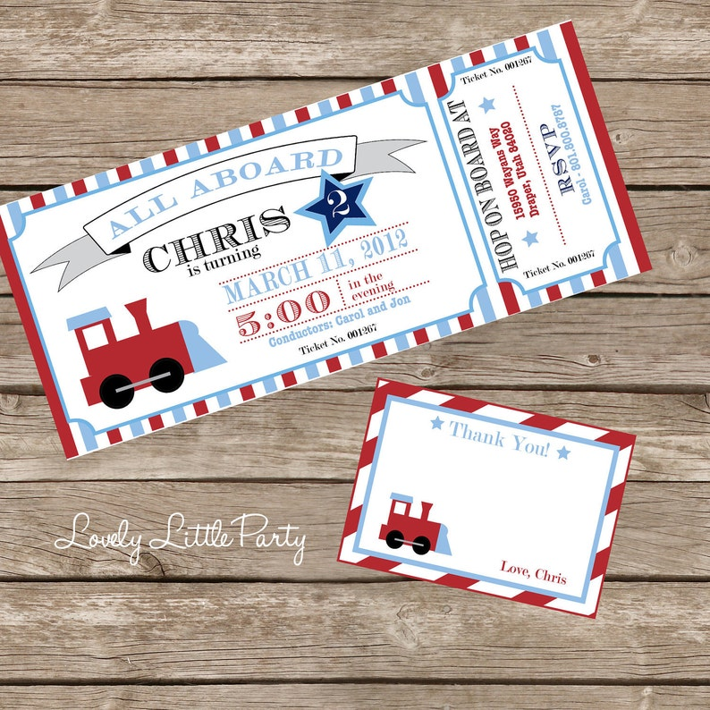 Train Birthday Invitation Kit DIY Printable Invite AND Thank
