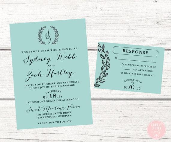Wedding Invitations Sydney: Sydney Monogram Laurel Wedding Collection Wedding