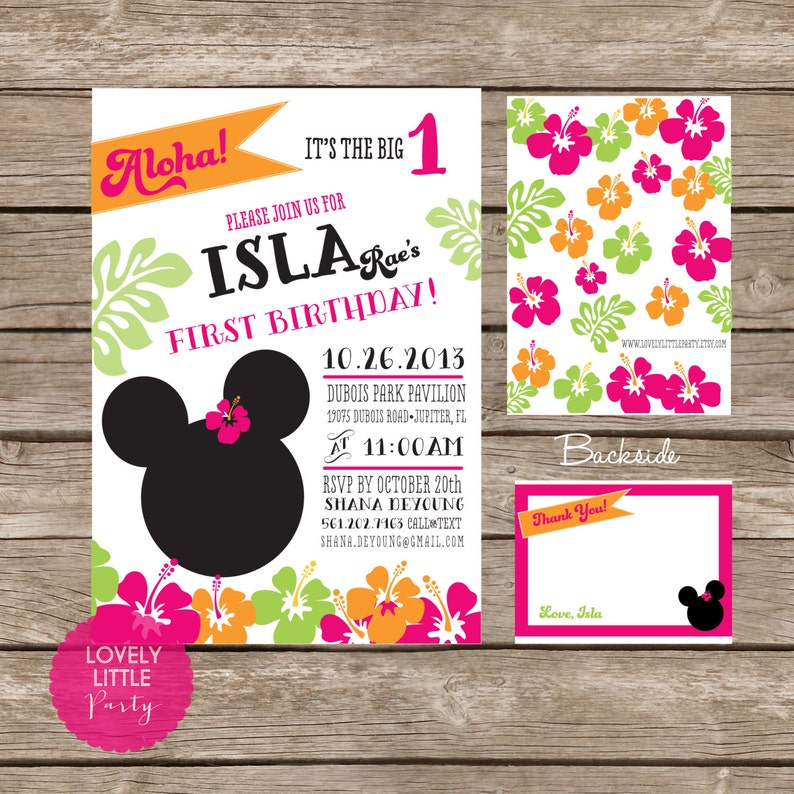 DIY Minnie Mouse Luau Invitation Kit Invite AND Thank You