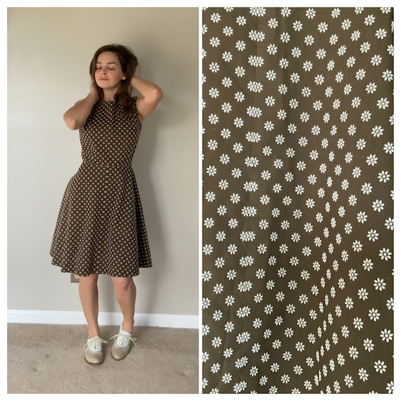 1960's Brown Flocked Floral Dress Fit and Flare 60