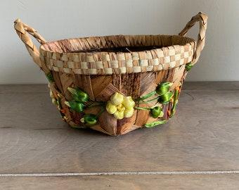 Vintage Straw Raffia Plant Basket Boho Home Decor Bohemian Planter