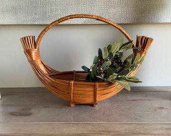 Vintage Wicker Basket Boho Home Decor Brown Storage Bohemian Bamboo Boat Basket