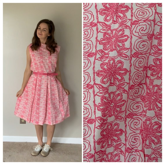 1960's Pink Floral Dress 60's Mod Summer Dress