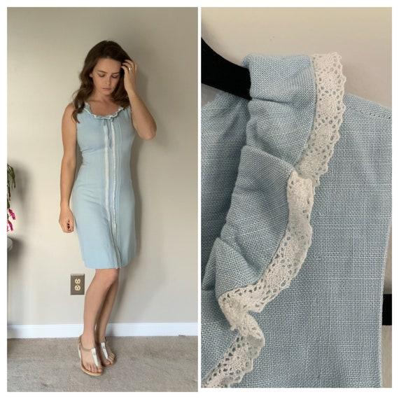 Vintage 1940's Linen Blue Dress 40's Lacey Wiggle