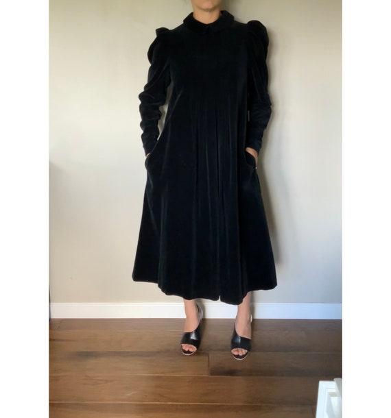 Vintage 1990's Original Laura Ashley Black Velvet… - image 4
