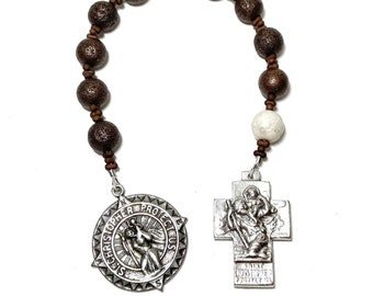 St Christopher Rosary for Men, One Decade Catholic Tenner, Patron Saint of Travelers, Silver Tone Compass Design Medal