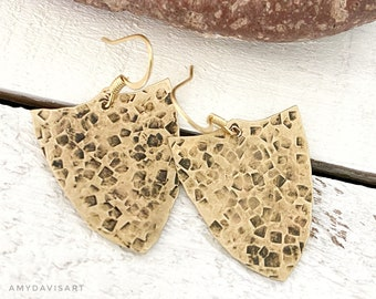 Upcycled hammered brass shield shaped earrings