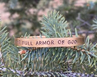 Bronze Cuff Bracelet Put On The Full Armor Of God Christian Jewelry, Ephesians 6 Christian gift for women prayer warriors