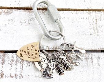 Put on the Full Armor Of God Christian Keychain, Ephesians 6, Scripture Verse Key Ring, Christian Gift, Shield of Faith