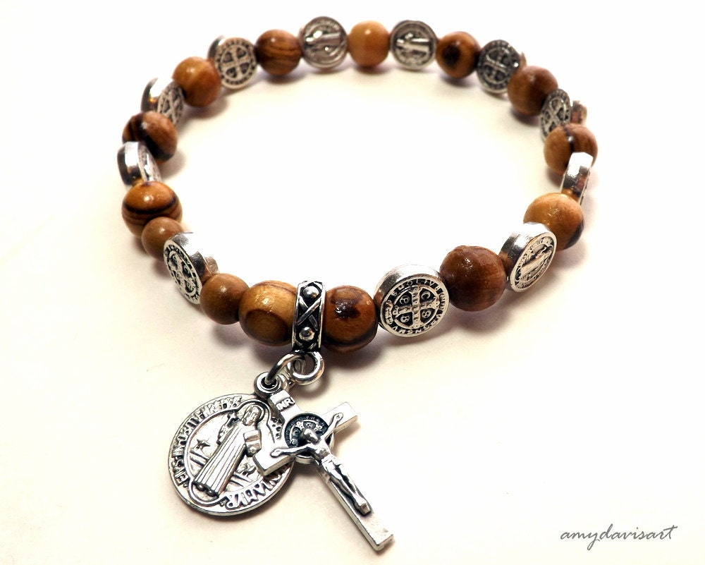 St Benedict Olive Wood Rosary Bracelet Catholic Jewelry One Etsy