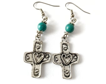 Christian Earrings - Cross Earrings with Heart Design & Turquoise Magnesite Beads, Inspirational Jewelry for Women