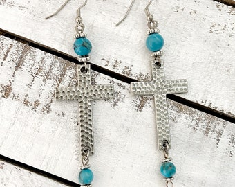 Long Earrings with Hammered Cross and Turquoise Magnesite Beads, Christian Earrings, Religious Jewelry for Women