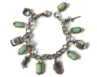 Put on the Full Armor of God Christian Charm Bracelet with Aquamarine Czech Glass Picasso Beads, Ephesians 6 Scripture Jewelry
